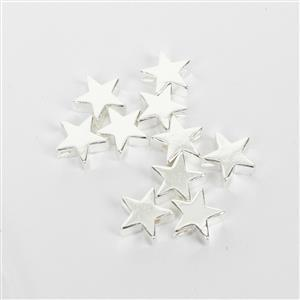 Silver Plated Base Metal Star Spacer Beads, Approx. 8mm (10pk)