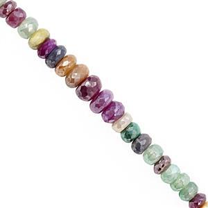 80cts Multi-Colour Coated Moonstone Faceted Rondelle Approx 5x3 to 9x5.5mm, 21cm Strand
