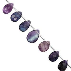 78cts Multi-Colour Fluorite Top Side Drill Graduated Faceted Pear Approx 11x7 to 16x11mm, 17cm Strand with Spacers