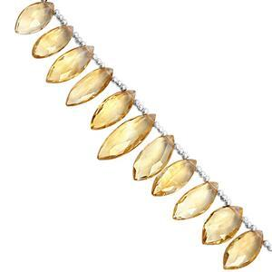 45cts Rio Grande Citrine Graduated Faceted Marquise Approx 7.5x4 to 15.5x7.5mm, 18cm Strand with Spacers