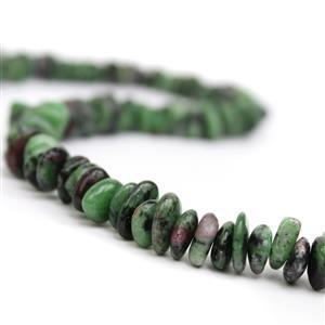360cts Ruby Zoisite Centre Drilled Slices Approx 2x9mm, 38cm strand