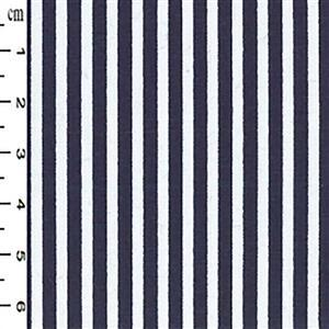 Navy Thin Stripes on White Fabric 0.5m