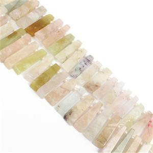 600cts Multi-Colour Beryl Graduated Bars, Approx 8x20mm-8x35mm, 38cm strand