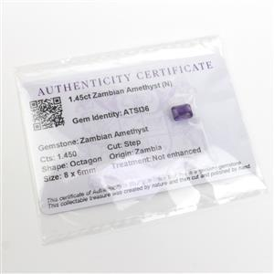 1.450cts Zambian Amethyst Step Cut Octagon 8x6mm