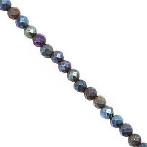 8cts Coated Mystic Blue Spinel Faceted Round Approx 2mm, 30cm Strand