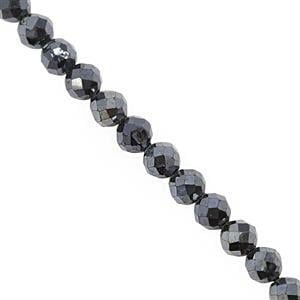 22cts Coated Mystic Gun Metal Spinel Faceted Round Approx 3mm, 30cm Strand