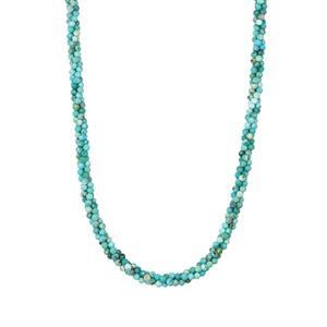 Sleeping Beauty Turquoise Twisted 3 Row Bead Necklace in Sterling Silver 39.60cts