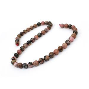 200cts Rhodonite Faceted Rounds Approx 8mm, 38cm Strand