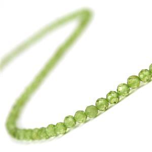 40cts Peridot Faceted Rounds Approx 4mm, 38cm Strand