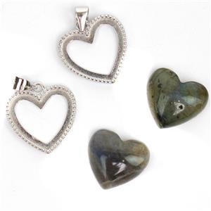 925 Sterling Silver Heart Bezel Pendant Approx 17x21mm (2pcs) & Labradorite Heart Cabochon (2pcs) Approx 12x15mm