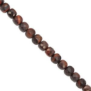108cts Red Tiger Eye Faceted Cube Approx 5 to 6mm, 38cm Strand