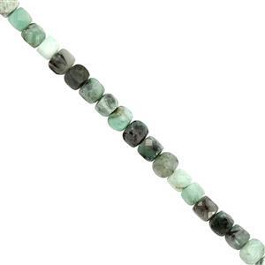 65cts Emerald Faceted Cube Approx 4mm, 38cm Strand