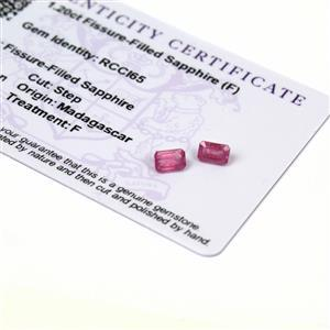 1.2cts Ilakaka Pink  Sapphire 6x4mm Octagon  (F) (Pack of 2)