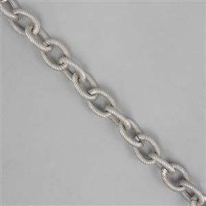 1m Matte Antique Silver Aluminum Chain, Approx 19x14mm