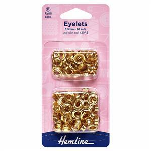 Eyelets Refill Pack 5.5mm Gold/Brass (60 Pieces)