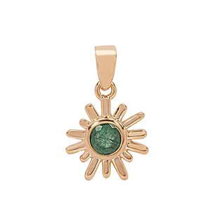 Rose Gold Plated 925 Sterling Silver Sunray Pendant with 0.6cts Sakota Emerald Approx. 18x14mm (1pc)