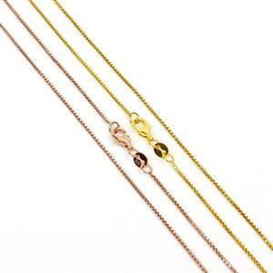 Gold & Rose Gold Plated 925 Sterling Silver Round Box 1.0mm Chain