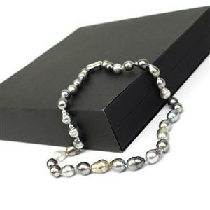 Tahitian Cultured Pearl Sterling Silver Necklace (11x8mm) & Sienna Box.