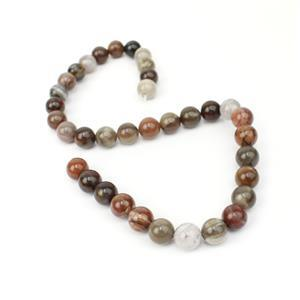 280cts African Wood Agate Approx 10mm, 38cm strand