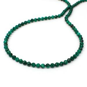 45cts Malachite Faceted Rounds Approx 4mm, 38cm Strand