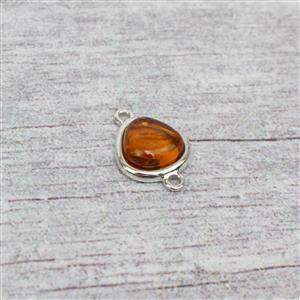 Baltic Cognac Amber Pebble Cabochon Sterling Silver Connector Approx 17x12mm