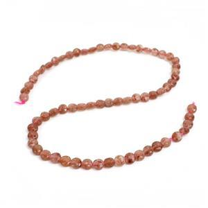 45cts Strawberry Quartz Faceted Coins Approx 6mm  38cm strand