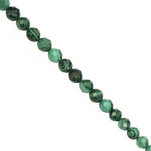 60cts Malachite Graduated Faceted Round Approx 3.50 to 5mm, 30cm Strand