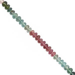 26cts Multi-Colour Tourmaline Smooth Rondelles Approx 3.5x1.5 to 4x2mm, 19cm Strands