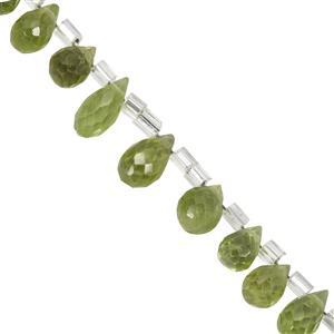 23cts Peridot Faceted Drop Approx 5x3.5mm to 8.5x4mm 20cm Strand
