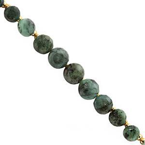 35cts Emerald Graduated Faceted Onion Approx 4.5x5 to 8x9.5mm, 14cm Strand With Spacers