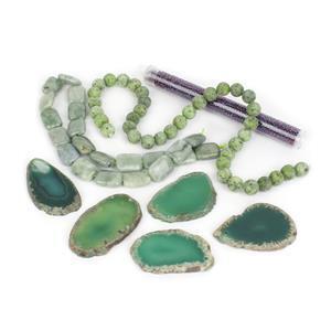 Green Agate Slabs Kits; Agate, Jade & Seed Beads