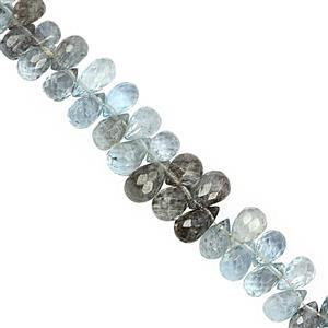 40cts Moss Aquamarine Top Side Drill Graduated Faceted Drop Approx 5x3 to 7x4.50mm, 15cm Strand with Spacers