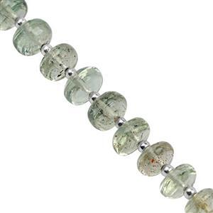 25cts Green Sunstone Smooth Rondelles Approx 4.5x2.5 to 7.5x4mm, 11cm Strand With Spacers