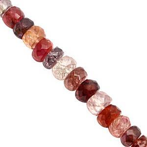 42cts Multi Spinel Graduated Faceted Rondelle Approx 3x2 to 6x4mm, 20cm Strand