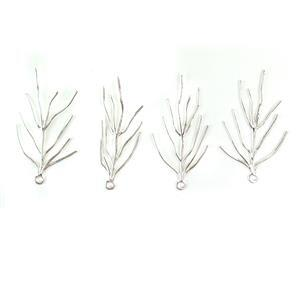 Silver Plated Base Metal Coral Pendants, Approx 50 x29mm (4pcs)