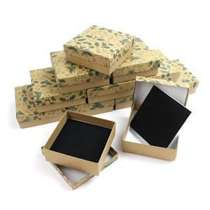 Holly Print Kraft Universal Box 9x9x3cm 12pk