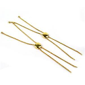 Morning Show Special! 2x Gold Plated 925 Sterling Silver Rope Chain Slider Bracelet.