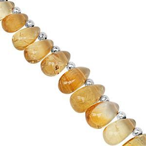 100cts Citrine Top Side Drill Smooth Drop Approx 8x4 to 13.5x9mm, 21cm Strand with Spacers