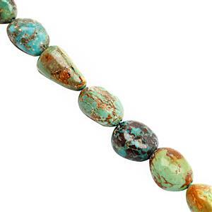75cts Turquoise Graduated Smooth Tumble Approx 7x6.5 to 15x10mm, 20cm Strand