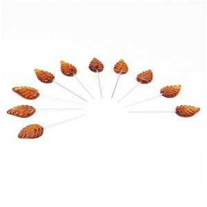 Baltic Cognac Amber Carved Leaf Approx 15x10mm, Sterling Silver Headpins 0.76mm/22Gauge, 24mm (10Pc)