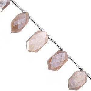 77cts Coated Peach moonstone Graduated Corner Drill Hexagon Faceted Approx 17x9.5 to 24x13mm, 17cm Strand with spacers