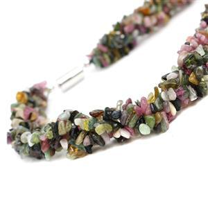 402.10ct Multi-Colour Tourmaline Necklace with Sterling Silver Magnetic Clasp