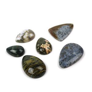 Chocolate Cabs! 150cts Ocean Jasper Pear & 98cts Marcasite Agate Multi Shape