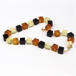Baltic Multi-Colour Amber Cube Bead 6mm Strand 20cm, Sterling Silver Spacer