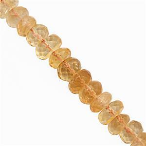 55cts Citrine Graduated Faceted Rondelle Approx 5x3 to 8x5mm, 17cm Strand