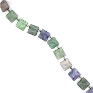 "310ct Multi-Fluorite Top Drilled Square Loose Beads Strand 15-16"" 16mm"