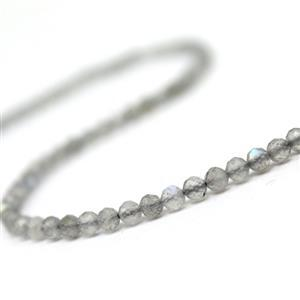 25cts Labradorite Faceted Rounds Approx 3mm, 38cm Strand