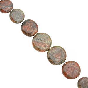 95cts Unakite Center Drill Graduated Smooth Coin Approx 8 to 16mm, 18cm Strand