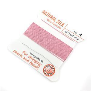 Silk Thread, Size 04 (.6 mm, .024 in) - Dark Pink, with needle, 2 m (6.5 ft)