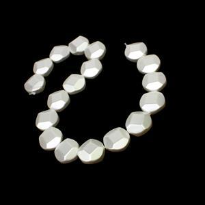 White Facted Round Shell Pearls Approx 20mm, 38cm Strand